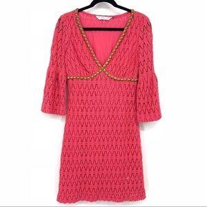 TRINA TURK Crochet Career Dress Bell Sleeves